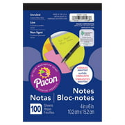 """Note Pad, 5 Vibrant Assorted Colors, 4"""" x 6"""", 100"""
