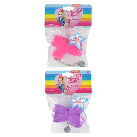 JOJOSIWA Nickelodeon JoJo Siwa Slow Rising Squishy Hair Bow Keychains (2pc Set) Collectible Fashion Accessories (Slow Jo Nylon)