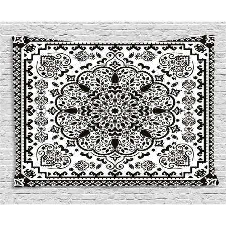 India Tapestry, Ethnic Mandala Floral Lace Paisley Mehndi Design Tribal Lace Image Art Print, Wall Hanging for Bedroom Living Room Dorm Decor, 80W X 60L Inches, Black and White, by