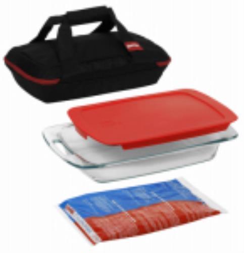 "4 Piece Pyrex Portable Bakeware Set Includes: 3 QT Easy Grab 9"" x 13"" by"