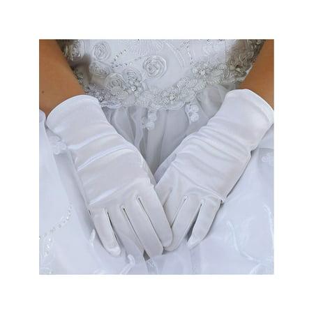 Angels Garment Baby Girls White Short Elegant Flower Girl Gloves - White Gloves Toddler