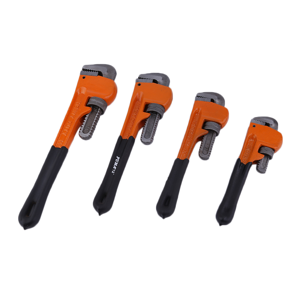 4pcs Heavy Duty Plastic Handle Pipe Wrench Set Heat Treated Adjustable Wrench,Black and orange