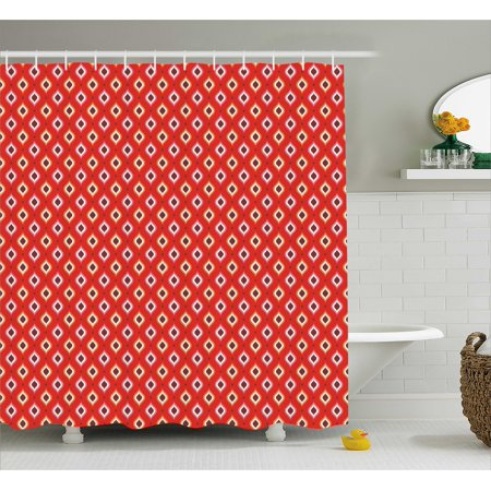 Retro Shower Curtain Old Fashion Unusual Geometric Figures Pattern In Vibrant Tones Image Fabric