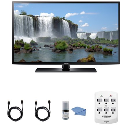 Samsung UN40J6200 – 40-Inch Full HD 1080p 120hz Smart LED HDTV + Hookup Kit – Includes TV, HDMI to HDMI Cable 6′, 6 Outlet Wall Tap Surge Protector with Dual 2.1A USB Ports and Cleaning Kit