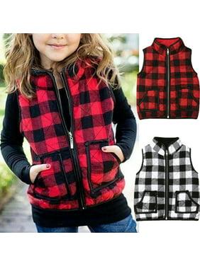 SUNSIOM Kids Baby Girl Warm Vest Plaid Cotton-padded Jacket Toddler Waistcoat Coat