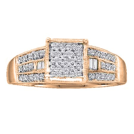 0.25 Carat (ctw) 14K Rose Gold Round & Baguette Cut White Diamond Ladies Micro Pave Promise Engagement Ring 1/4 CT Baguette Cut Diamond Engagement Ring