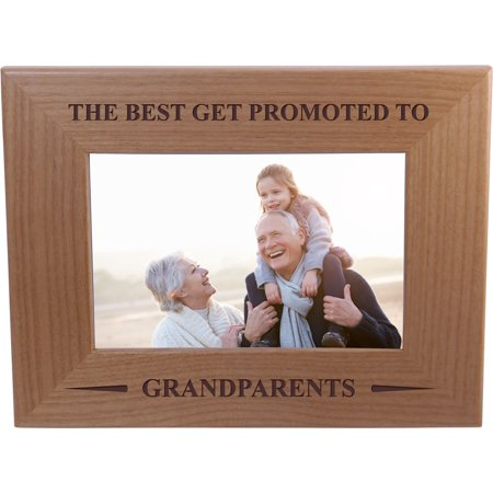 Only The Best Get Promoted To Grandparents - Wood Picture Frame Holds 4x6 Inch Photo - Great Christmas, Father's Day, Mother's Day Gift For Parents