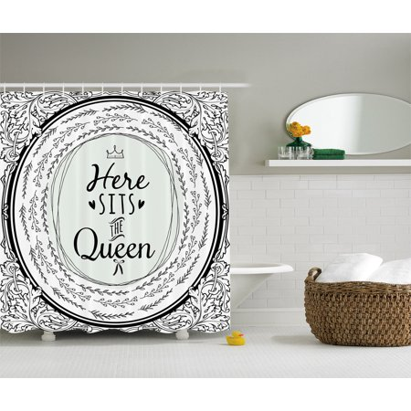 Ambesonne quotes decor here sits the queen women fabric for Queen bathroom decor