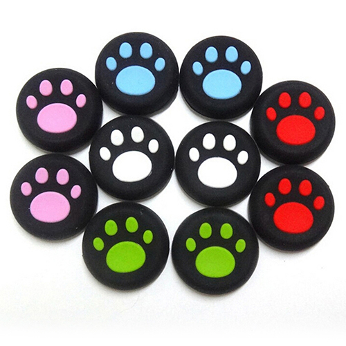 Girl12Queen 2pcs Cartoon Silicone Catlike Thumb Stick Grip Cap for PS3 PS4 Xbox One/360