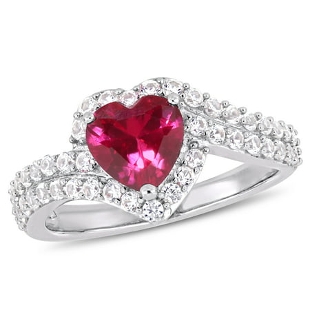 2-1/2 Carat T.G.W. Created White Sapphire and Created Ruby Sterling Silver Heart Ring ()
