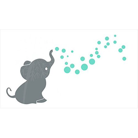 Wall Décor Plus More Elephant with Bubbling Dots Vinyl Wall Art Decals Stickers for Baby Nursery Décor, S Gray-Mint, 36x20 …