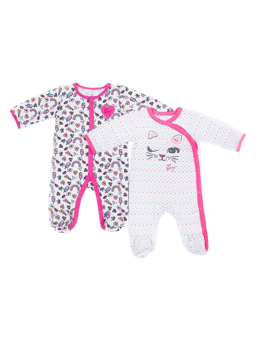 Baby Girl's 2-Piece Kitty Footie Set