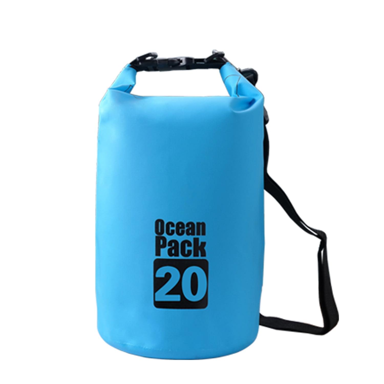 Lightahead Waterproof Dry Bags 20L With Free Waterproof Cellphone Case for Kayaking / Boating / Canoeing / Fishing / Rafting / Beach / Hiking (Blue)