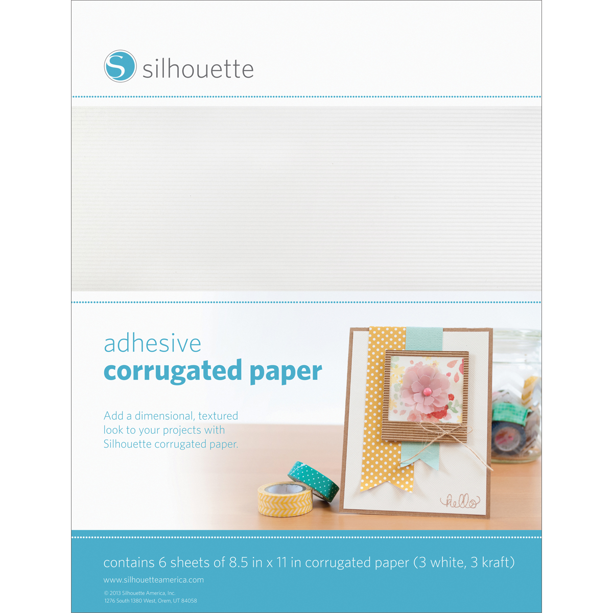 "Silhouette Adhesive Back Corrugated Paper 8.5""X11"" 6/Pkg-White & Kraft"
