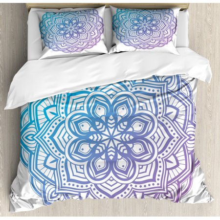 Purple Mandala Queen Size Duvet Cover Set, Grandient Circular Floral Mandala on White Background, Decorative 3 Piece Bedding Set with 2 Pillow Shams, Violet Azure Blue and Violet Blue, by Ambesonne ()