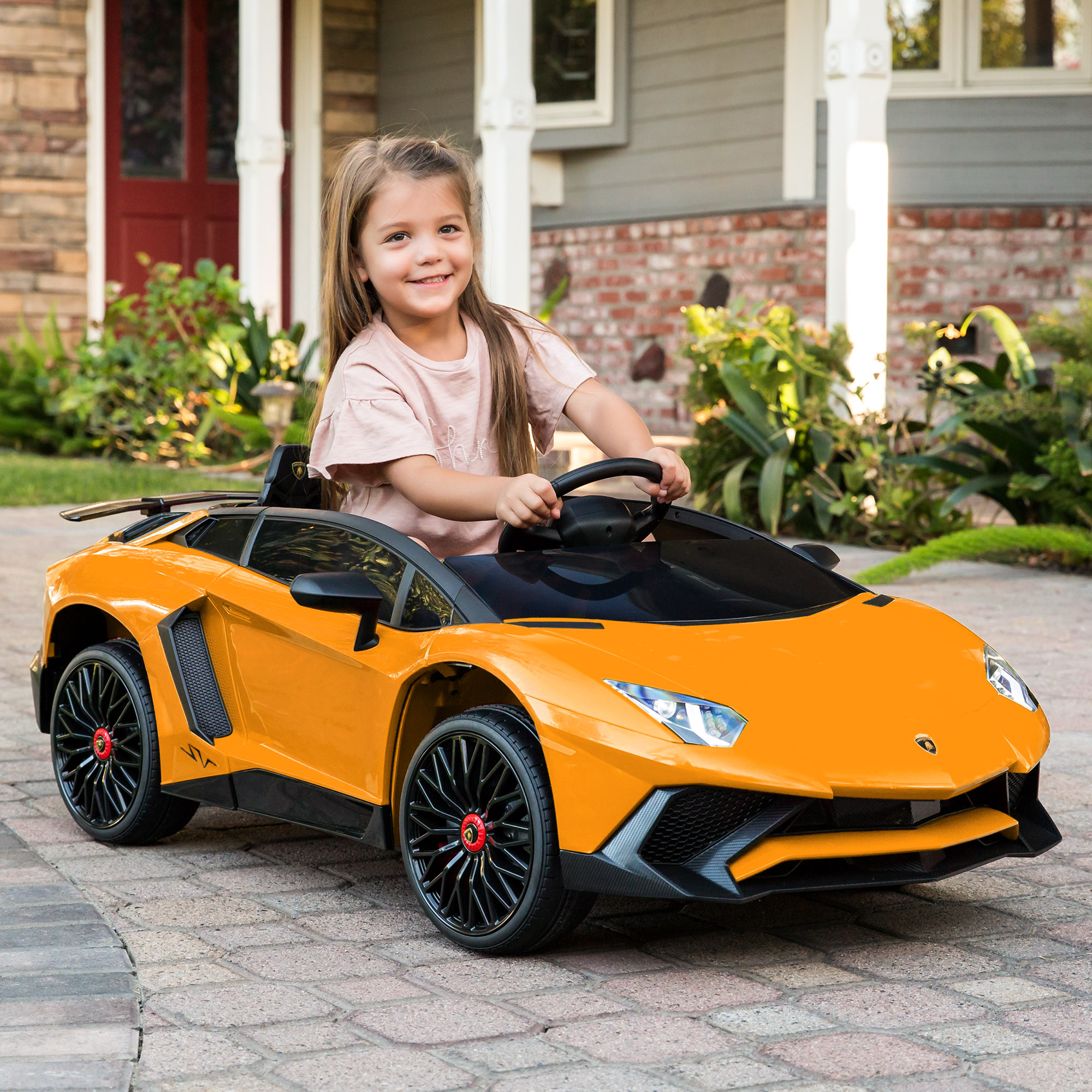 Best Choice Products Kids 12V Ride On Battery Powered Vehicle Lamborghini  Aventador SV Sports Car Toy w/ Parent Control, AUX Cable, 2 Speed Options,