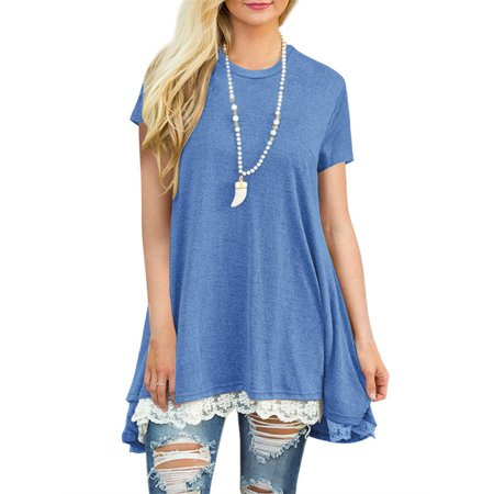 Short Sleeved Lace Patchwork T-shirt Casual Loose Tops
