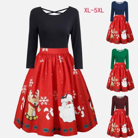 Christmas Dresses For Women Midi Flare Dress Xmas Plus Size Casual Clothes #232 (Plus Size Christmas Dresses)