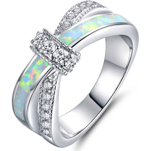 Fire Opal CZ18kt White Gold-Plated Crisscross Ring by Generic