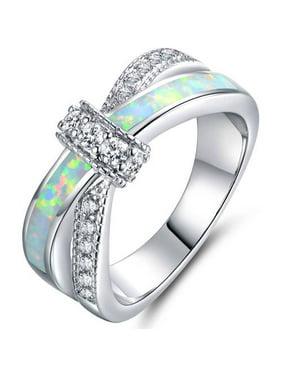 Fire Opal CZ18kt White Gold-Plated Crisscross Ring