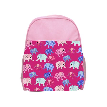 Elephants Print Pink Girls Preschool Toddler Backpack & Lunch Box Set