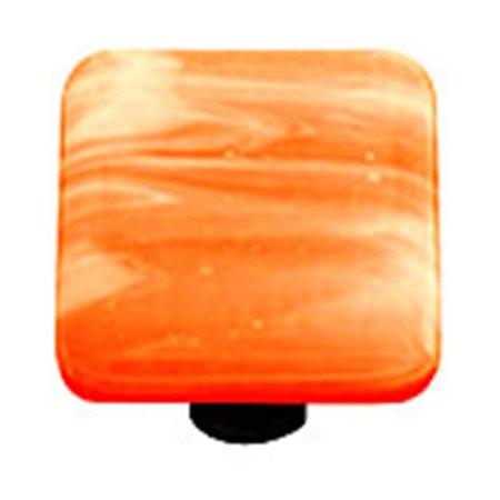 Painted Swirl Cabinet (Hot Knobs HK2054-KA White Swirl Opal Orange Square Glass Cabinet Knob - Aluminum Post )