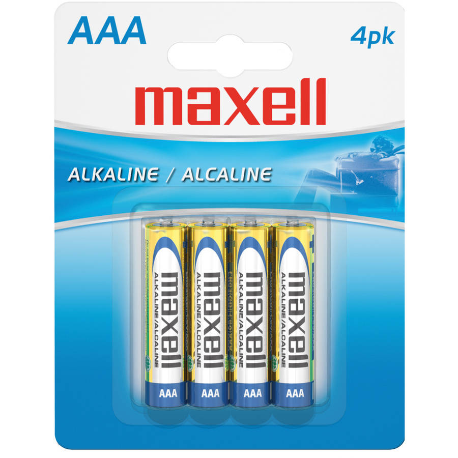 Maxell AAA Alkaline Batteries, Pack of 4
