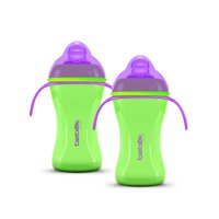 Bebek 8 oz, Ergonomic Design, Plus Graduated in Ounces and ML Patented Anti Colic, Clear BPA-Free Spout, w/ Easy to Clean, Sense-Flo Hospital Grade Silicone Soft Spout Bottle w Handles Lime Green. (Pack of 2)