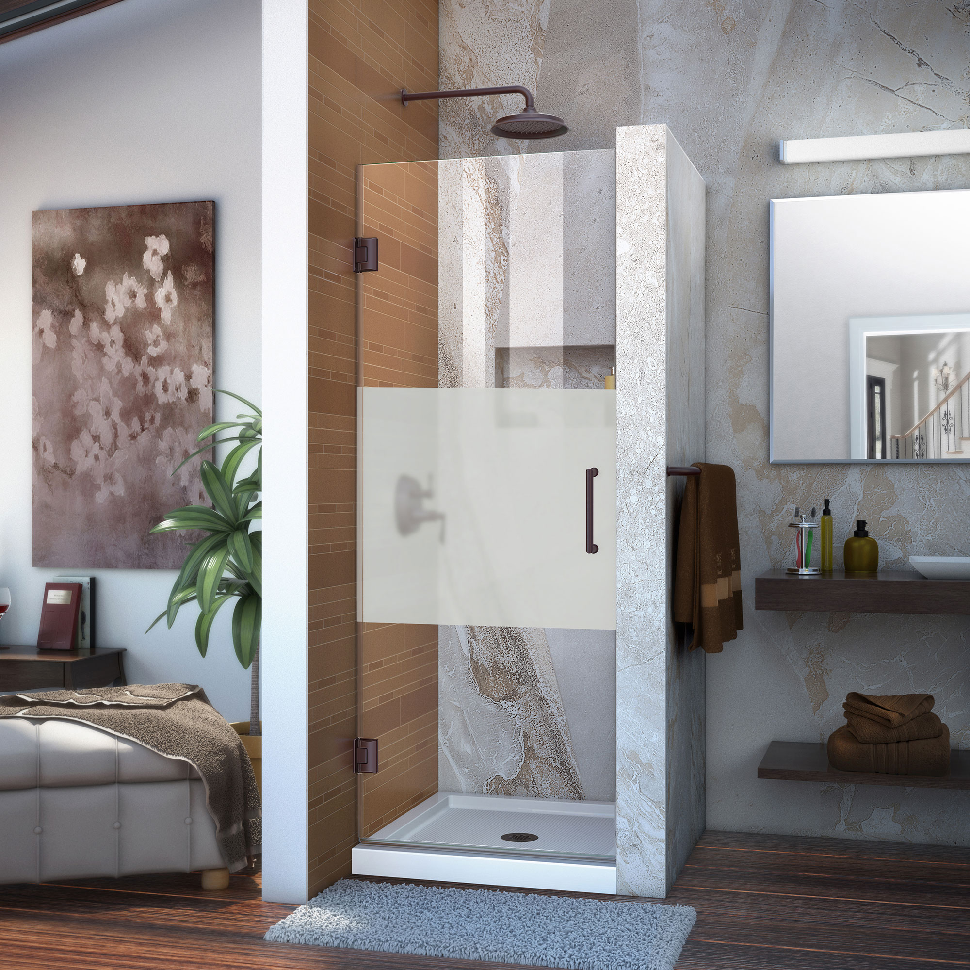 DreamLine Unidoor 25 in. W x 72 in. H Frameless Hinged Shower Door, Frosted Band Glass, in Oil Rubbed Bronze