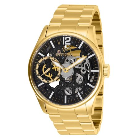 Invicta 27566 Mens Vintage Mechanical 3 Hand Black Dial Watch with Gold Tone - image 1 of 1