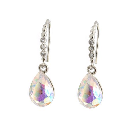 - Wedding Earring Silver Plated Aurora Borealis Fish Hook Wire Earring