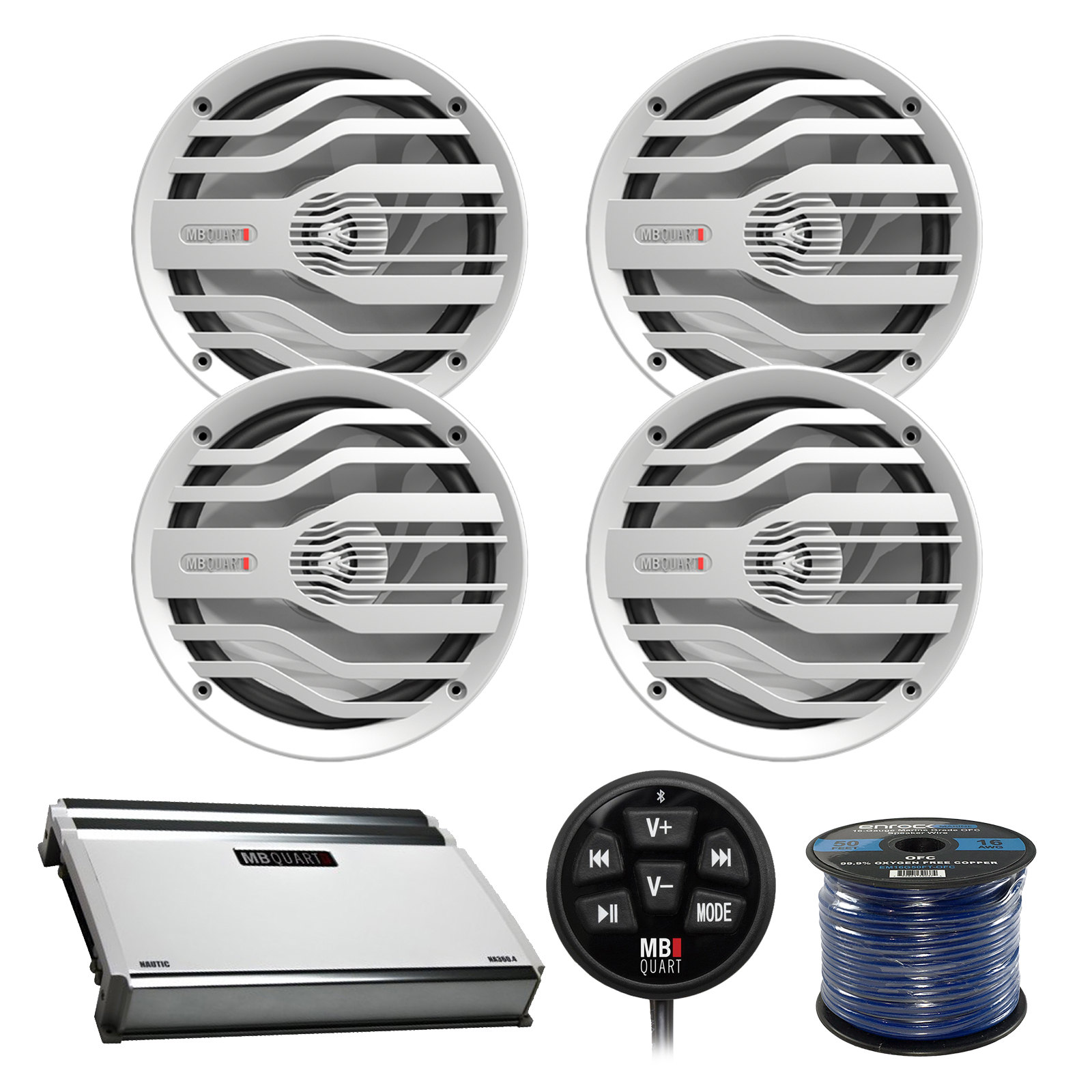 "4x MB Quart NK2-116W 6.5"" 120W 2-Way Coaxial Marine Speakers, N1-WBT Wired Bluetooth Controller, MB Quart NA360.4 360-Watt 4-Channel Marine Amplifier, Enrock 50 Foot 16-Gauge Speaker Wire"