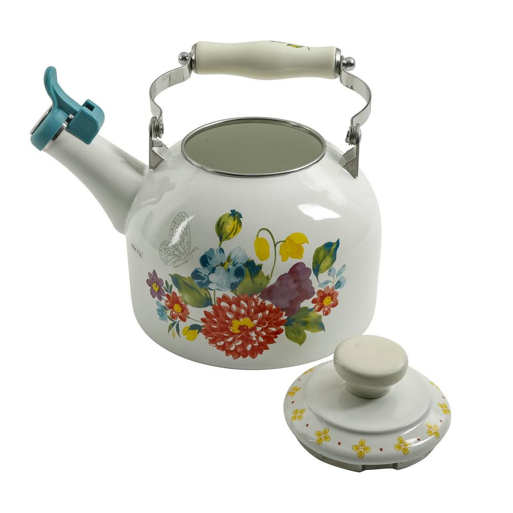 The Pioneer Woman Blooming Bouquet Enamel on Steel 2-Quart Tea Kettle