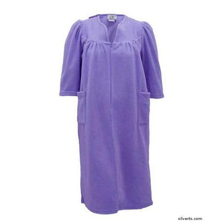 Silverts 264501305 Womens Cozy Open Back Adaptive Fleece Hospital Robe, Light Mauve - Extra