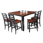 Ryley Dining Set Counter Height-Finish:Black/Saddle Brown,Quantity:7 Piece