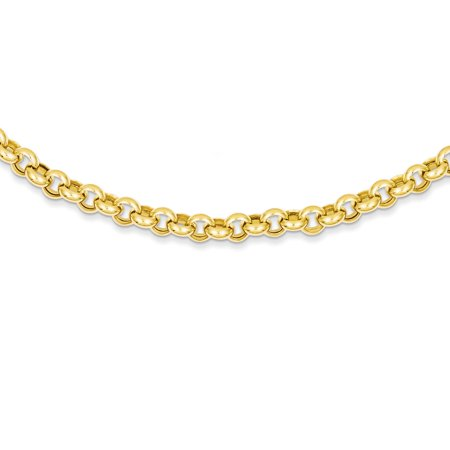 "Solid 14k Yellow Gold Big Heavy 18in 6.25mm Polished Fancy Rolo Link Necklace Chain 18"" - with Secure Lobster Lock Clasp"