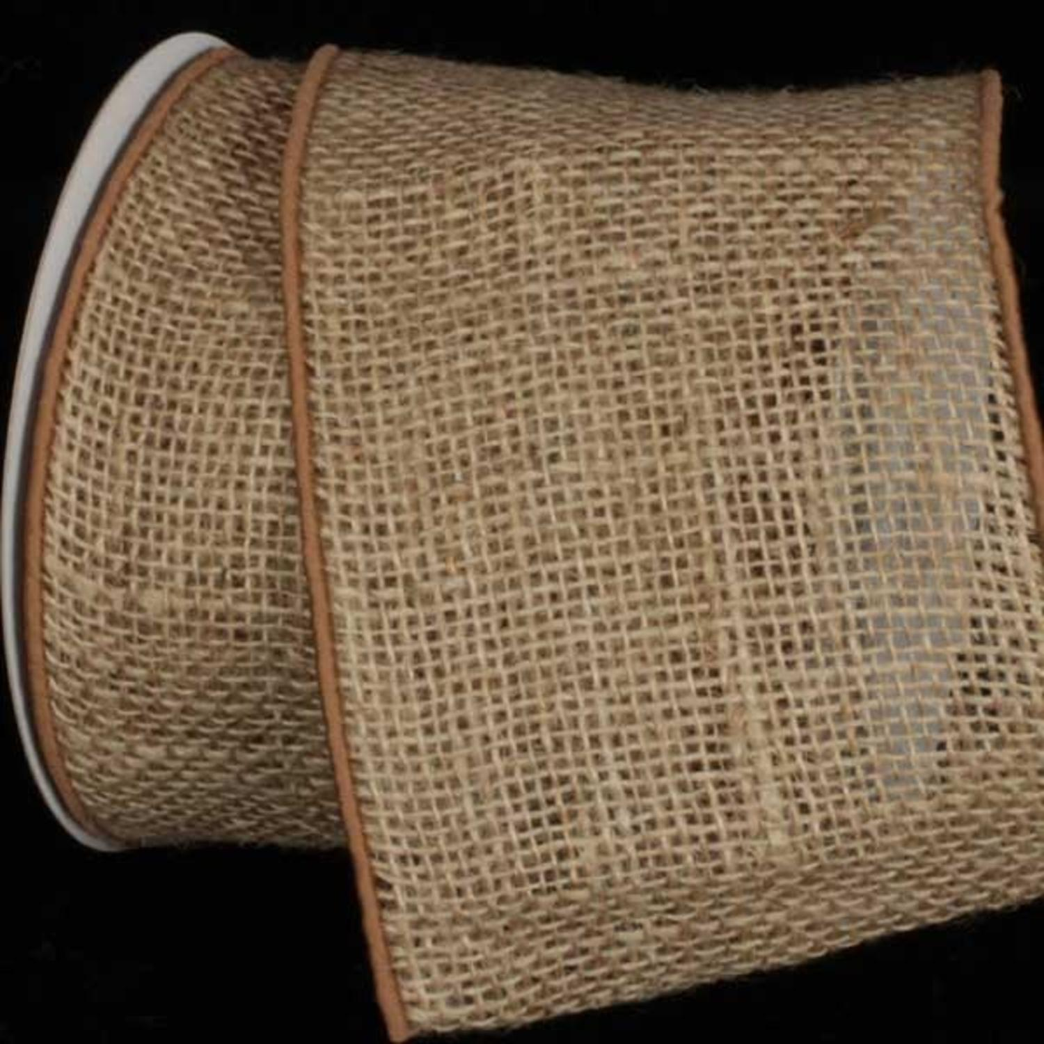 "Natural Brown Burlap Wired Craft Ribbon 5"" x 10 Yards"