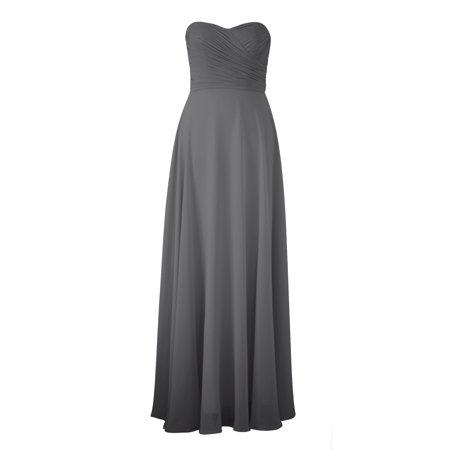 Faship Womens Elegant Strapless Pleated Sweetheart Neckline Long Formal Dress Gray - 4,Gray](Glow In The Dark Sweet 16 Dress)