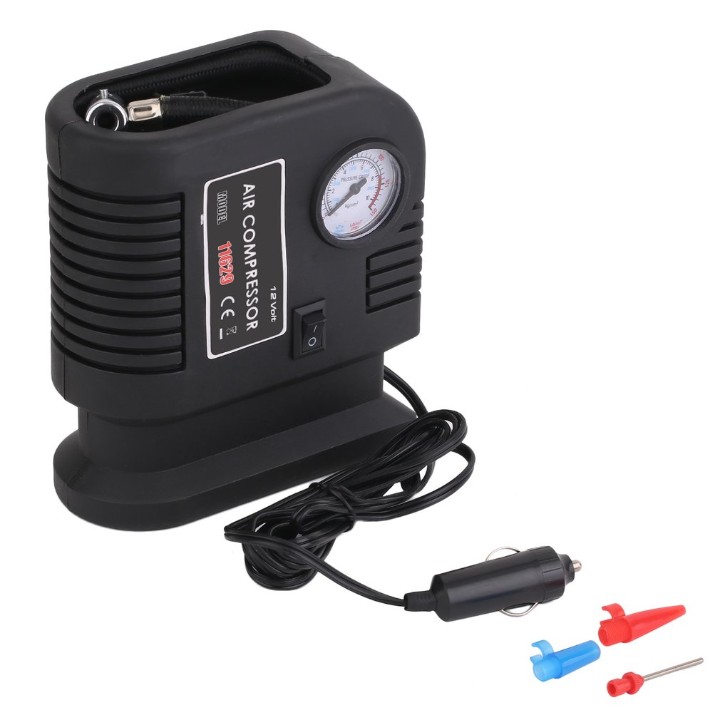 Portable Car Air Compressor Pump Tire 12V And 3 Adapter Electric Tyre Inflator,Black