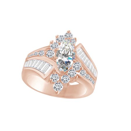 - Marquise & Round Cut White CZ Cocktail Engagement Ring In 14k Rose Gold Over Sterling Silver (3.20 cttw) Ring Size-4