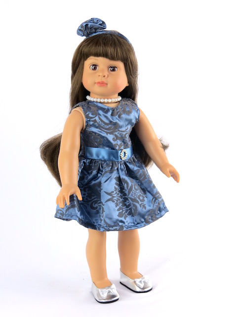 "Dusky Blue Paisley Dress with Matching Accessories Fits 18"" American Girl Dolls,... by"
