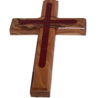 Two Tone Olive Wood Cross (5.5 inches) - Comes with Certificate