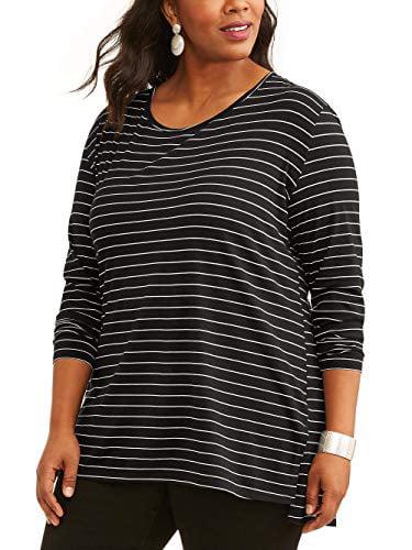 Terra and Sky Women's Plus Long Sleeve Scoop Neck Tunic Tee (Navy, 3X)