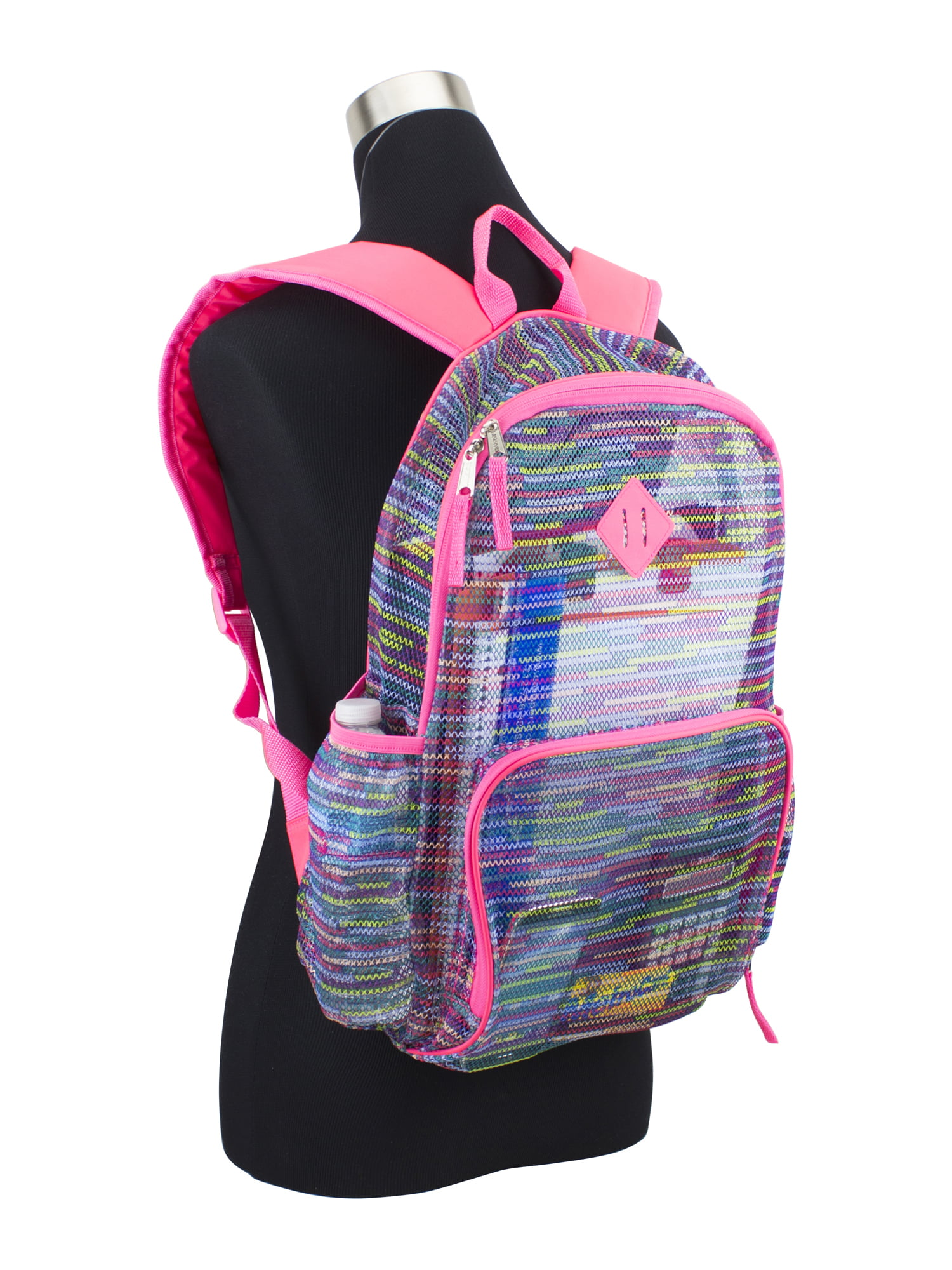 Eastport Backpack New Double Front Backpack pink black plaid book bag New!