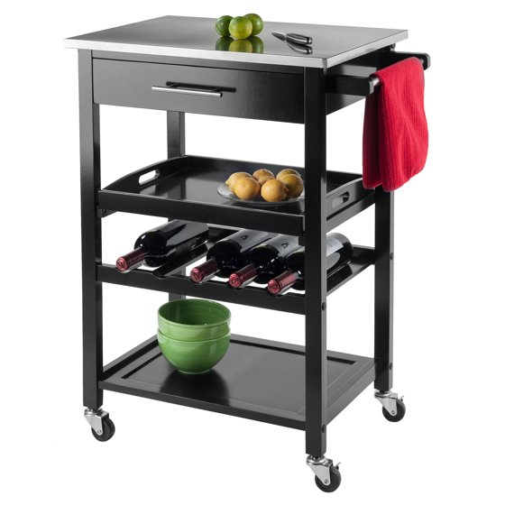 Stainless Kitchen Cart: Winsome Anthony Stainless Steel Top Kitchen Cart