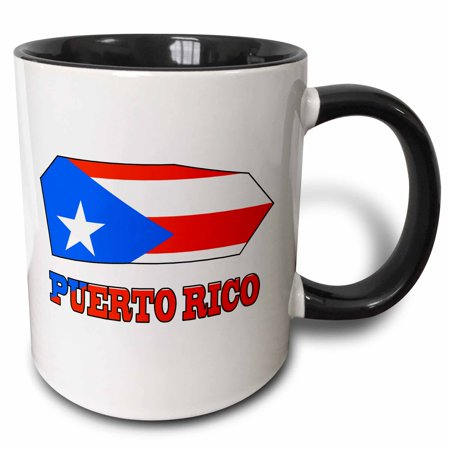 Liberty Puerto Rico - 3dRose The flag of Puerto Rico in the outline map and name of the country Puerto Rico - Two Tone Black Mug, 11-ounce