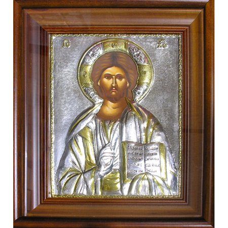 Religious Icon Christ The Teacher Hand Painted Silver Icon in Wooden Framed with Glass 14-1/2 x 12-1/4 Inches by World Faith