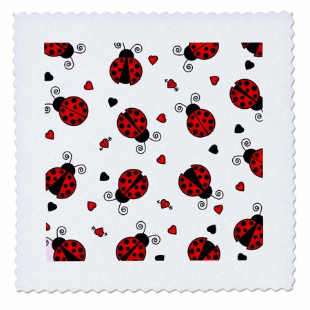 3dRose Love Bugs Red Ladybug Print with Hearts - Quilt Square, 8 by 8-inch