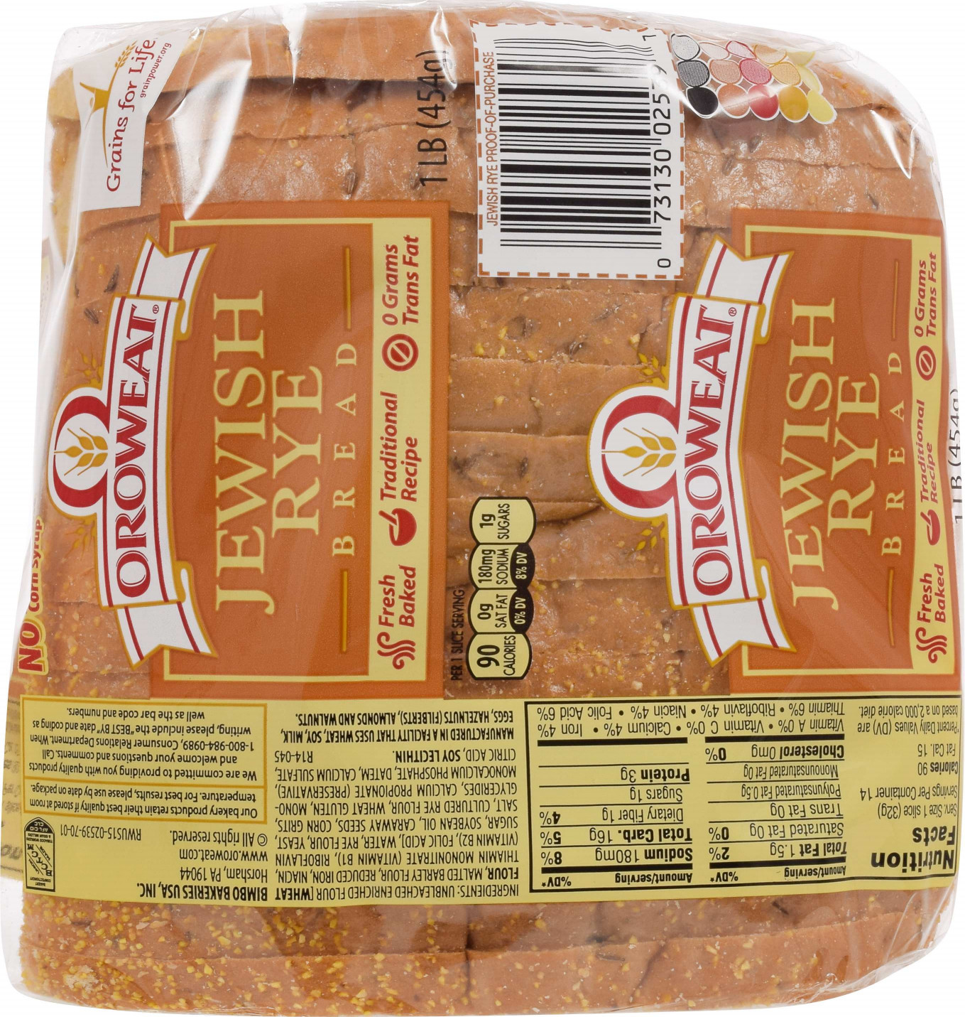 Oroweat Jewish Rye Bread 16 Oz