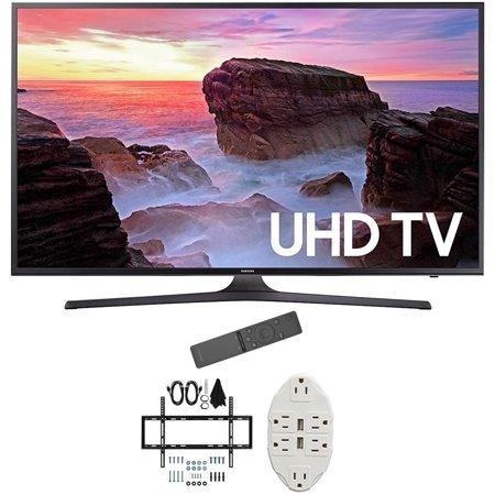 Samsung 50   4K Ultra Hd Smart Led Tv 2017 Model Un50mu6300fxza With Deco Mount Slim Flat Wall Mount Ultimate Bundle Kit For 32 60 Inch Tvs   Stanley Transformer Tap Usb W  6 Outlet
